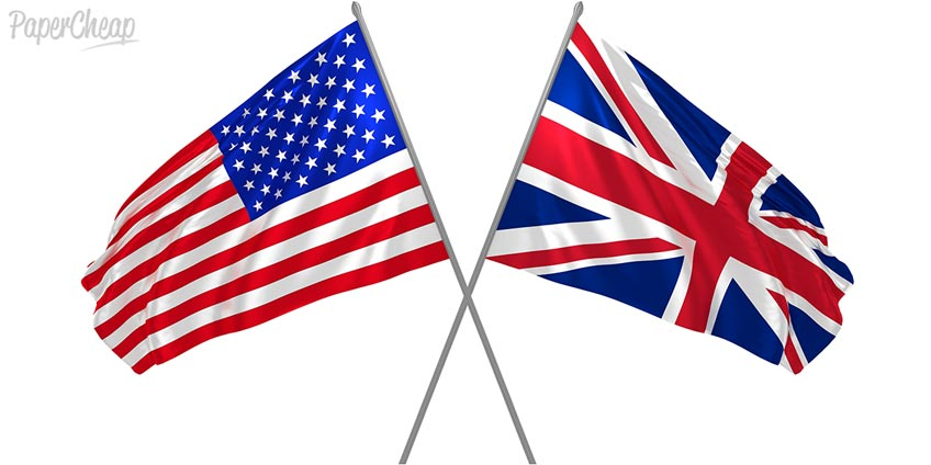 American vs Britain Two Flags