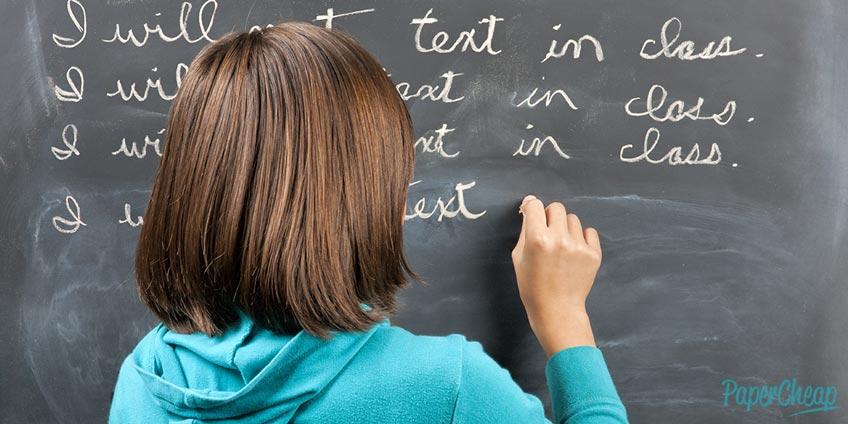 Girl Writes a Sentence