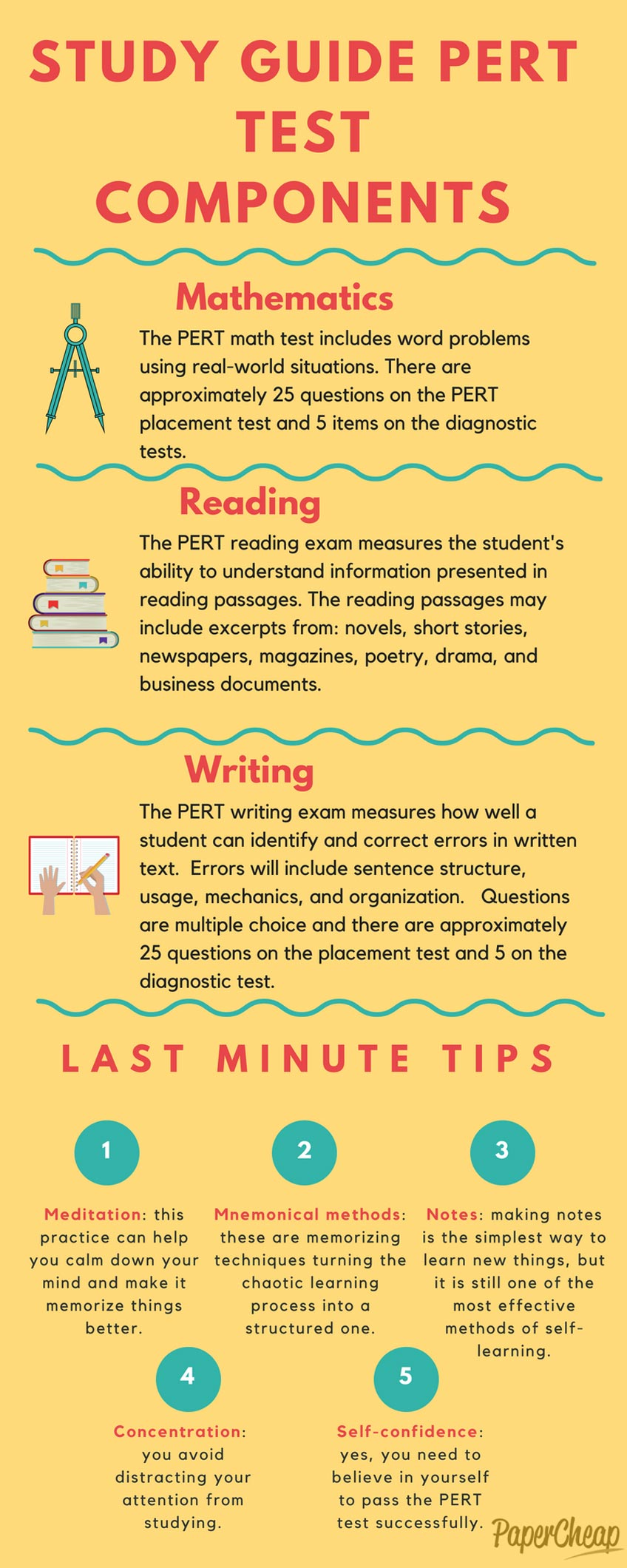Infographic Study Guide PERT Test Components