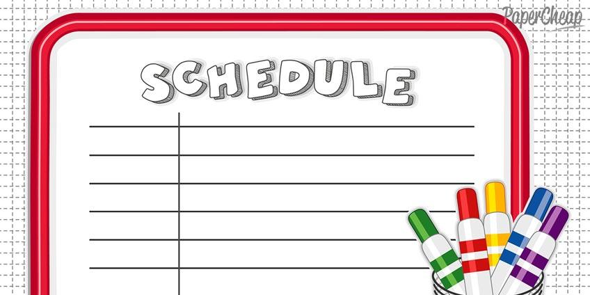 Planner, Schedule